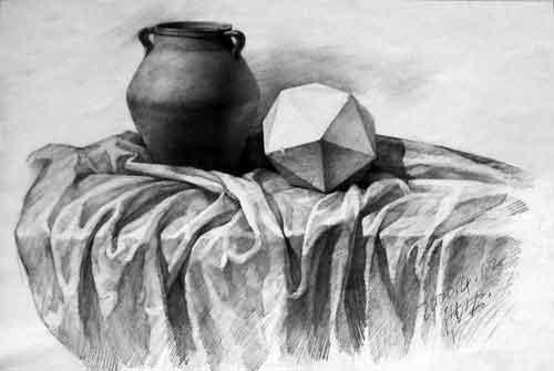 素描陶罐绘画步骤图