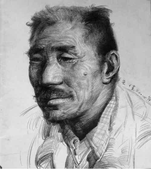 老年人四分之三侧面素描头像作品2 头像 2014年美术高考网