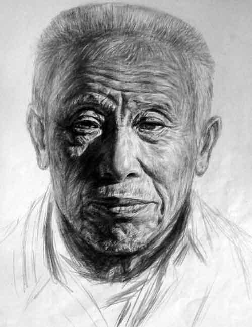 老年人正面素描头像