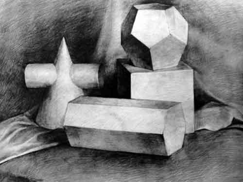 石膏几何体组合静物作品(四方体 六梭柱 圆锥与圆柱组合体 )