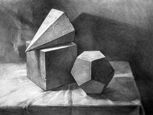 多个几何体组合素描作品组图