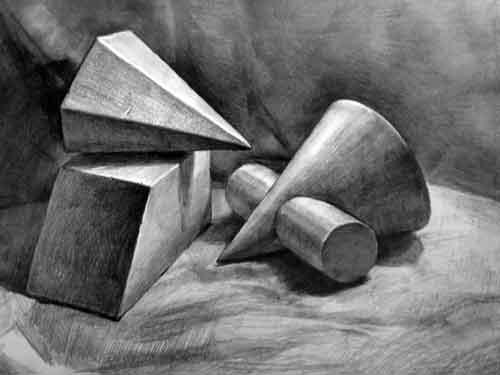 几何体组合素描作品(长方体斜切 多梭锥 圆锥与圆柱组合体)