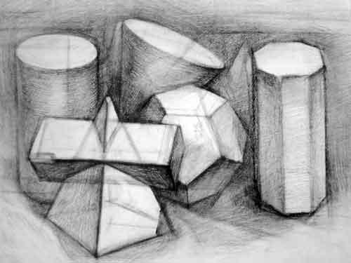 多个几何体组合素描写生作品