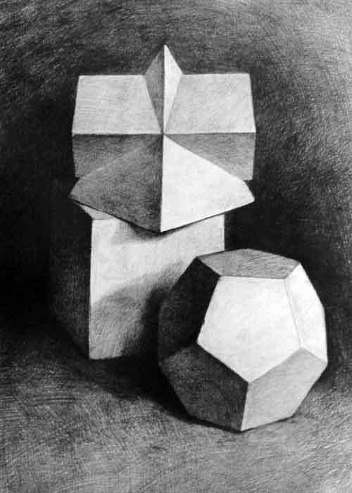 三个静物素描组合图>>素描静物罐子步骤图>>水晶画三