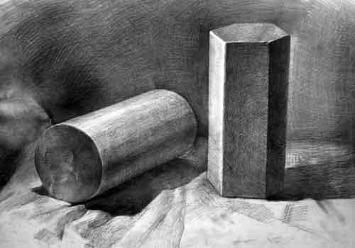 圆柱体静物素描图片展示_圆柱体静物素描相关图片下载