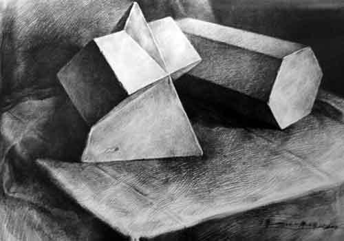 几何体组合素描作品