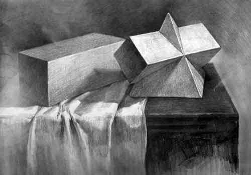 几何体素描四梭锥与长方体