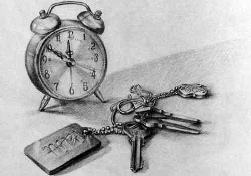 闹钟与钥匙静物素描作品