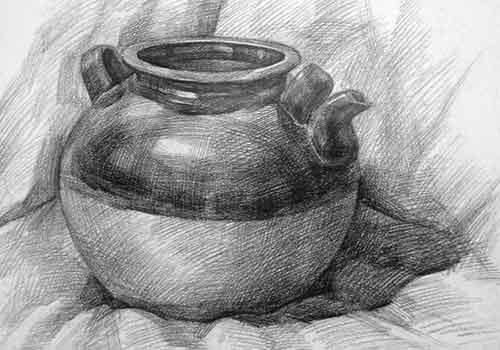 陶罐静物素描作品