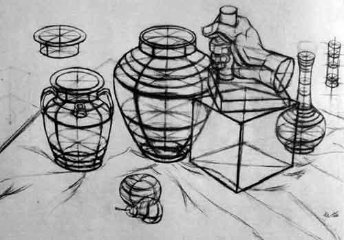 复杂的静物结构素描