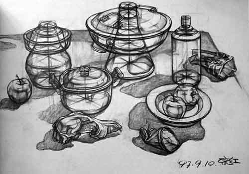 静物结构素描作品(组图)