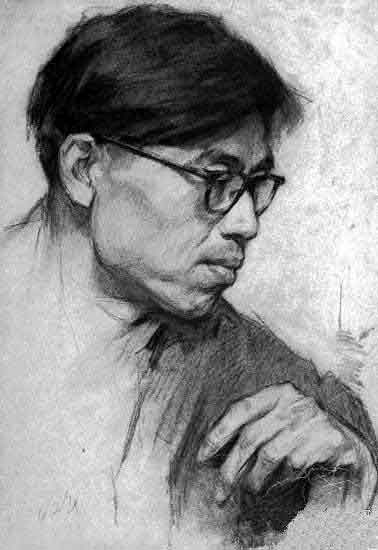 中国油画大师.靳尚谊素描人物头像