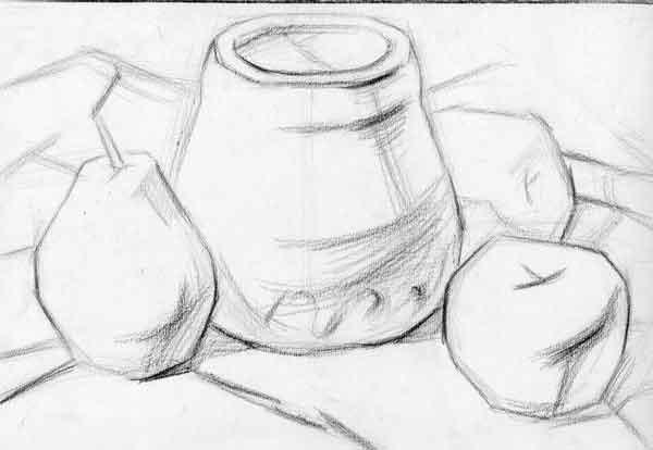 素描静物步骤-陶罐,苹果,雪梨等组合
