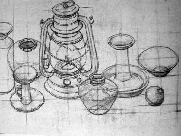 静物结构素描作品
