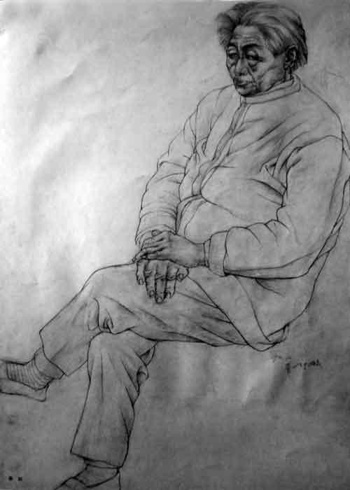 人物全身像素描作品学院基础素描教学所遵循的由浅入深、循序渐进的教学原则符合 人的认识规律。