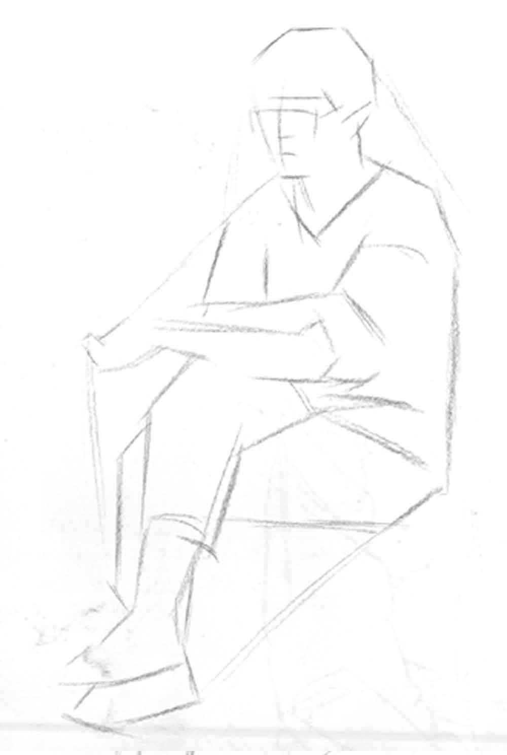 坐着的女青年动态速写写生步骤
