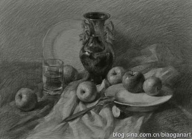 陶罐静物组合步骤_素描教程 - 中华美术高考网www.mshao.com