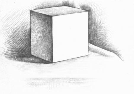 背景 范图/单个正立方体的写生步骤_素描教程/ 中华美术...