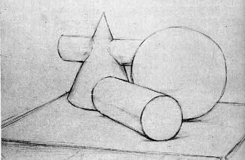 圆锥,圆柱,球体组合写生步骤_素描教程 - 中华美术高考网www.mshao.
