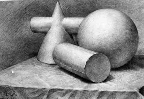 圆柱体石膏几何形体-圆锥,圆柱,球体组合写生步骤