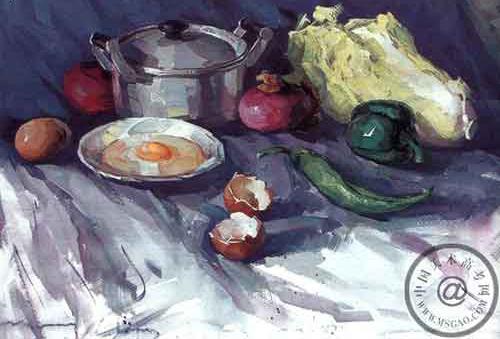蔬菜水粉画; 在鸡蛋上做画; 《蔬菜和铝锅》水粉色彩步骤图