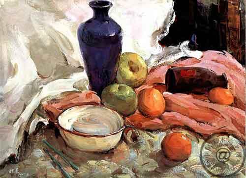 管、水果)1、画水粉画时,有时可直接用多种颜色起稿,以加对静物