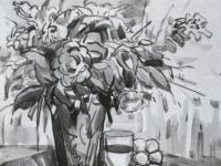 花卉色彩水粉静物写生步骤