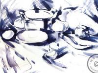 蔬菜和铝锅水粉静物写生步骤