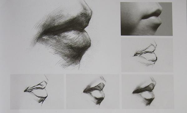 素描人物头像中嘴巴的画法