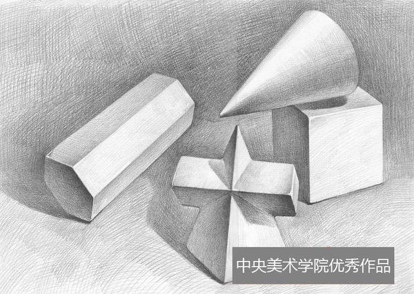 多个几何体组合静物素描作品(第1组)