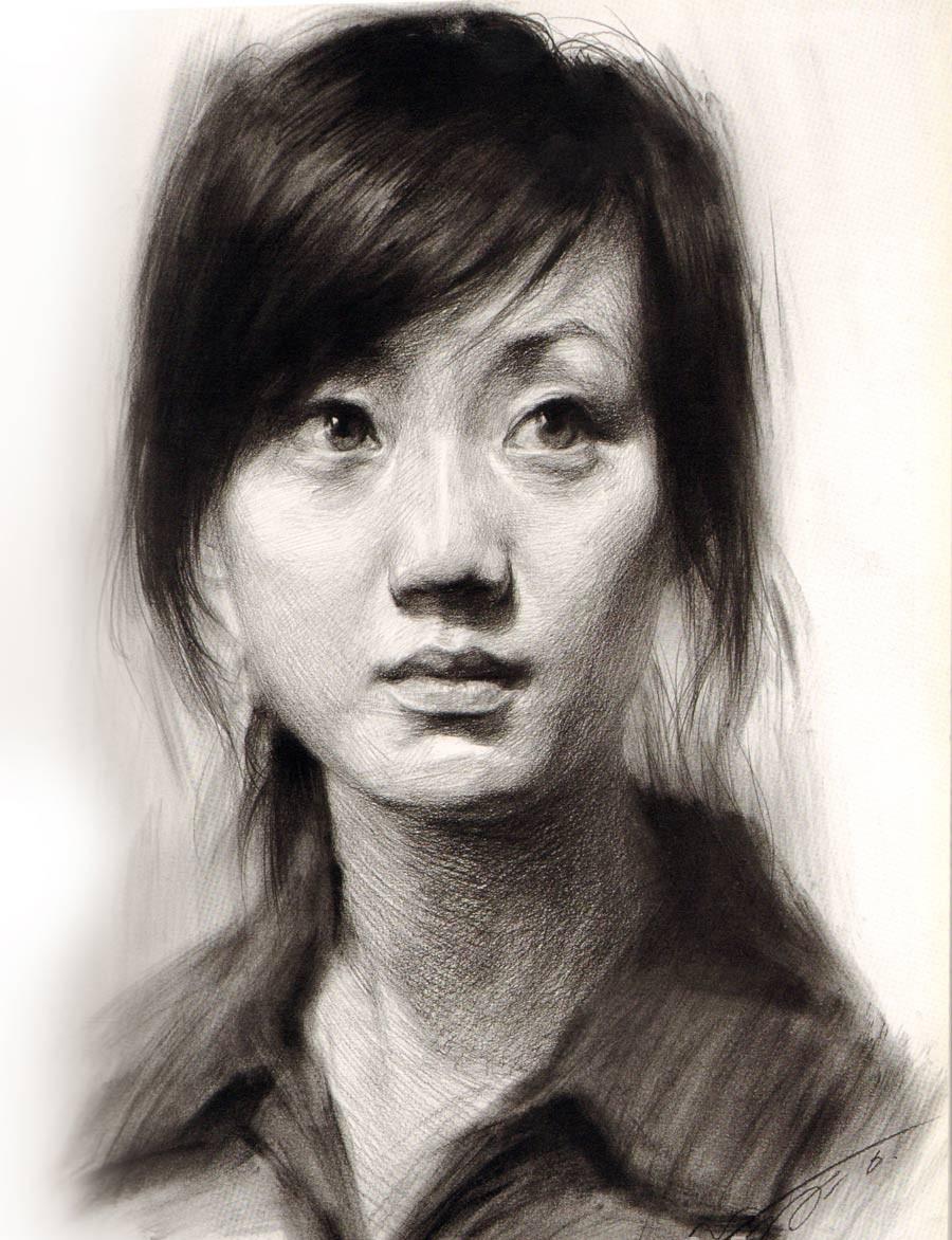青年 素描头像/青年女子正面素描头像步骤