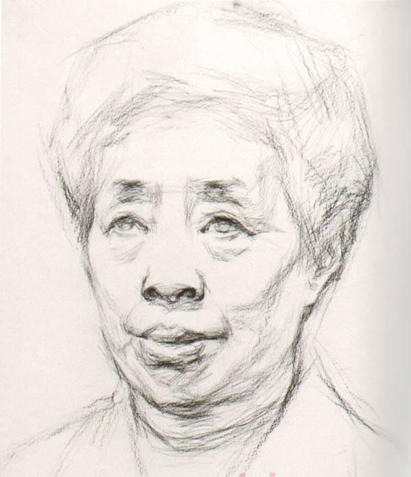 头像 素描/素描中年女人正面头像步骤教程