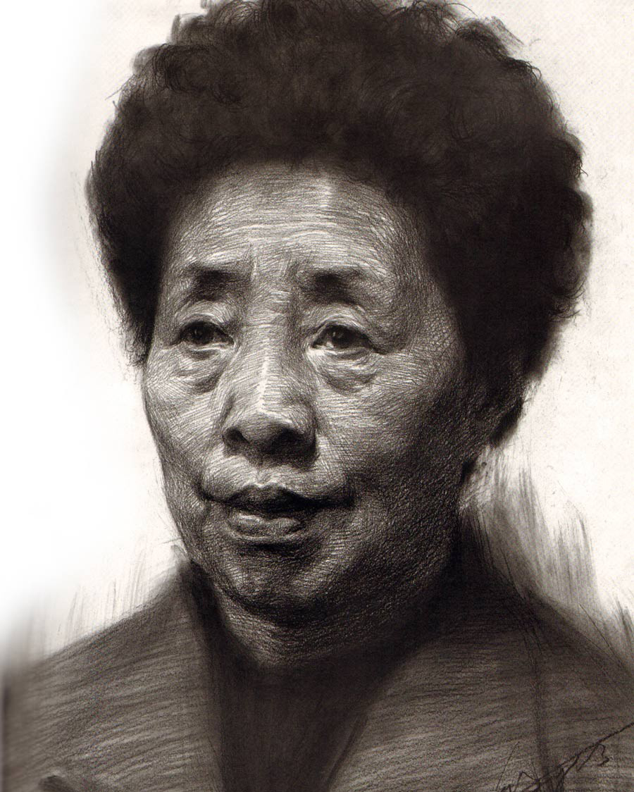 头像 素描-素描中年女人正面头像步骤教程