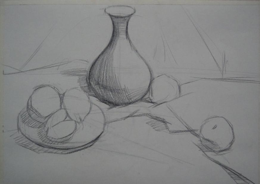 步骤 素描静物写生 《深色花瓶、盘子、苹果与梨》/《深色花瓶、盘子、苹果与梨》素描静物写生步骤