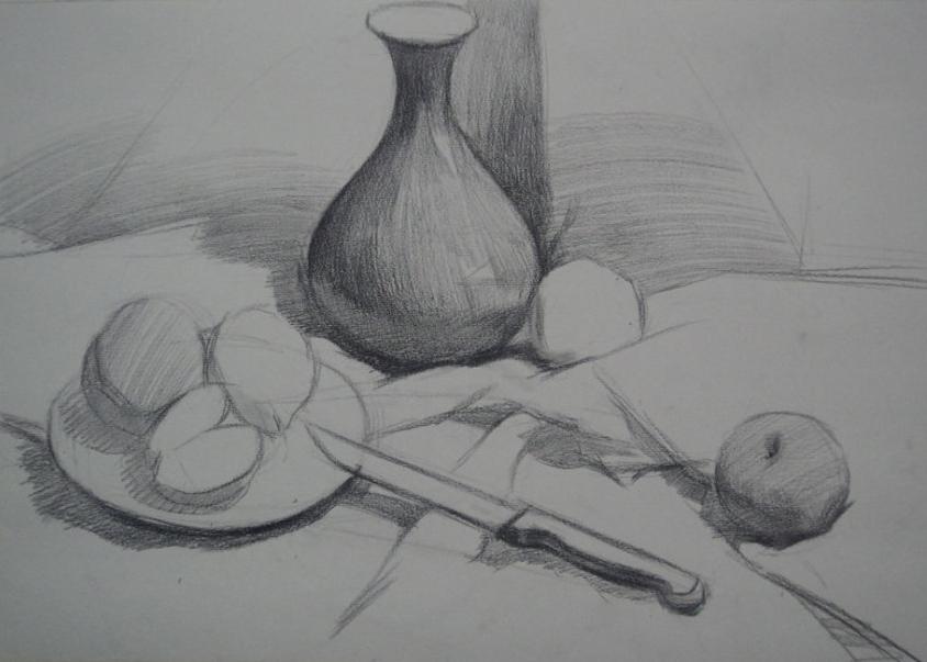 《深色花瓶,盘子,苹果与梨》素描静物写生步骤