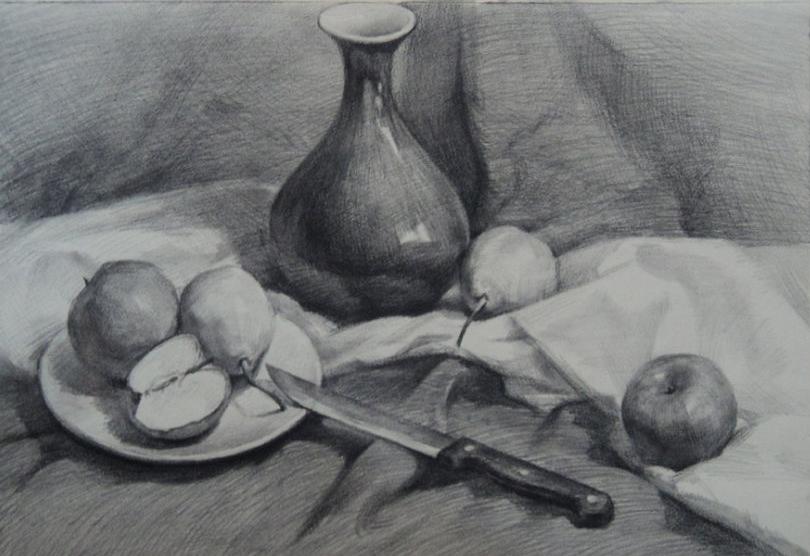 盘子,苹果与梨》素描静物写生步骤