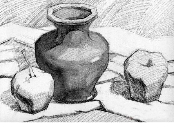 深色陶罐 梨与苹果组合静物素描写生步骤