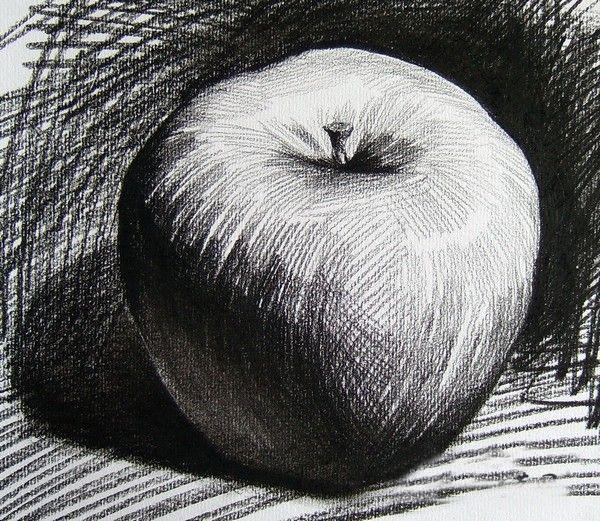 单个苹果素描写生-素描教程