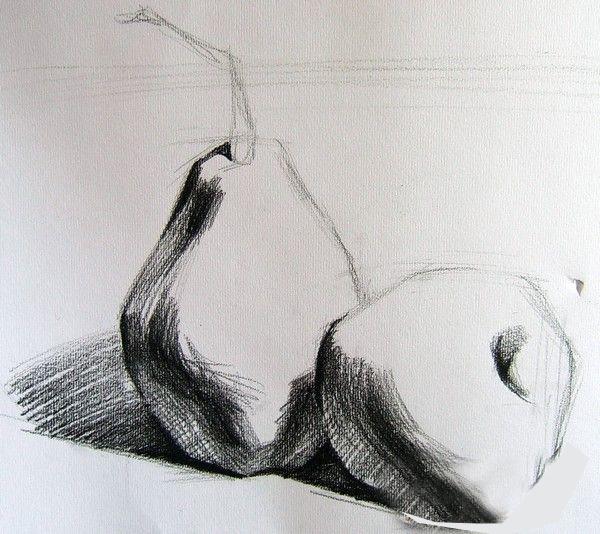 素描静物步骤-苹果和雪梨画法   素描教程 素描; 素描:素描静物步骤