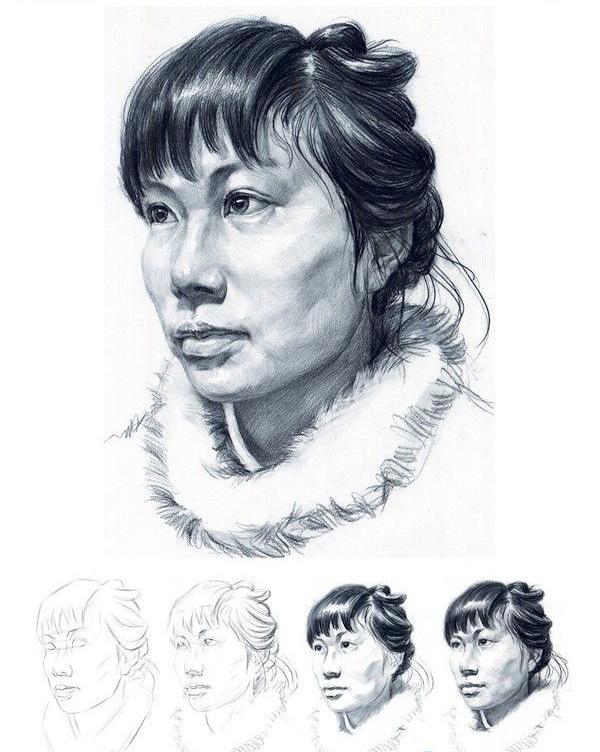 四分之三侧面素描人物头像写生