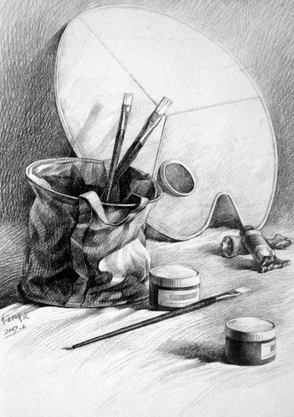 静物素描组合写生(竹篮与水果)