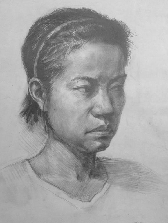女青年四分之三素描头像写生