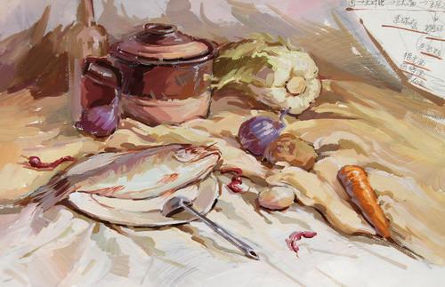 色彩静物组合写生-蔬菜与鱼