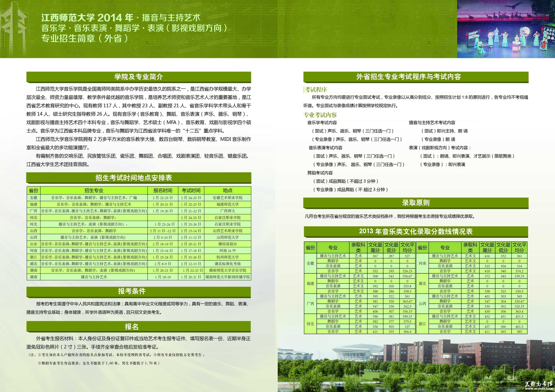 江西师范大学2014年音乐类专业招生简章(外省)