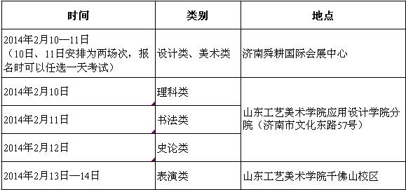 山东工艺美术学院2014年拟定招生计划及专业考试科目(山东省内)