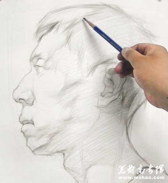 美术校考真人头像写生高分实例教程5