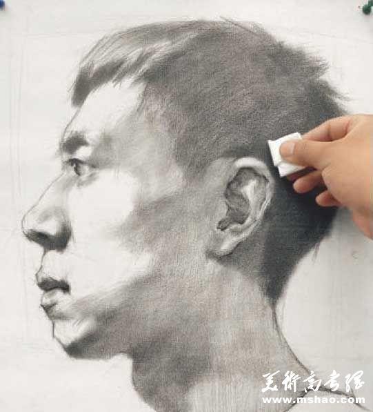 美术校考真人头像写生高分实例教程7