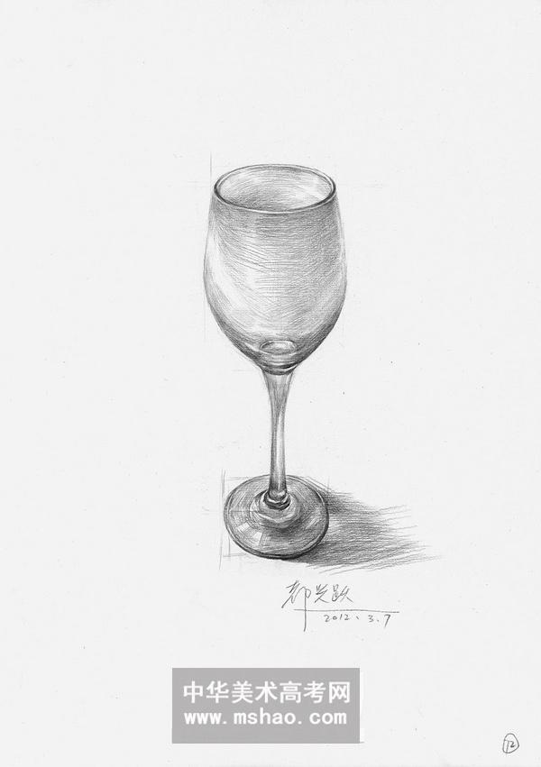 素描静物-一个空的玻璃酒杯作品欣赏图片