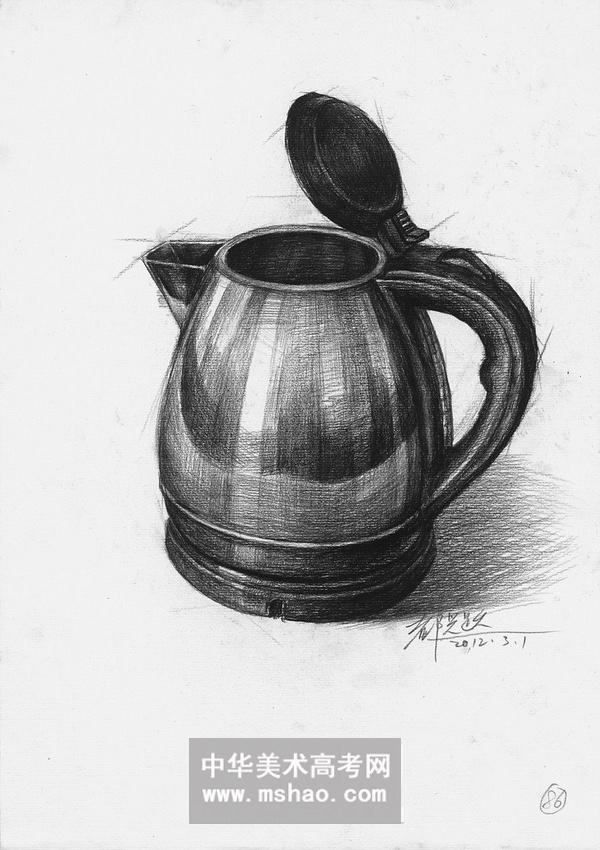 素描静物-一个空的不锈钢热水壶作品欣赏