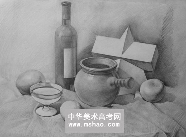 素描静物组合-陶罐 书 眼镜 桔子 白菜 酒瓶 白瓷杯 玻璃杯图片